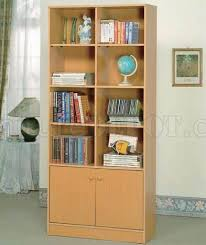natural finish modern bookcase w two doors