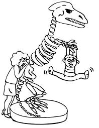 kid hang dinosaur skeleton coloring netart