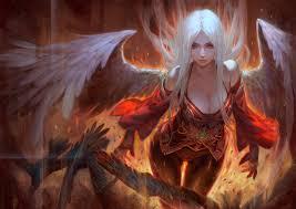 angel fire wings fantasy girls dark demon original h wallpaper