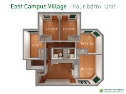 floorplan with dimensions for four bedroom units in east campus