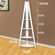 furniture tall white corner ladder bookshelf with five tiers