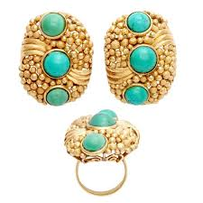 1970s earrings 1970s modern design turquoise gold ring and earrings for sale at