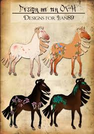 oriental geisha horse designs for jian89 by sweetlittlevampire on