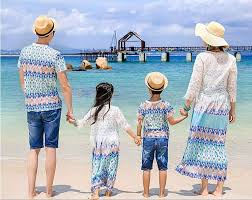 beach floral peacock family clothing set dress for mother and