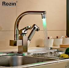 led kitchen faucet aliexpress buy nickel brushed pull out color changing led