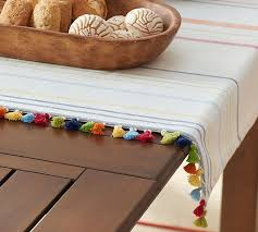pottery barn table linens stripe tassel table throw pottery barn
