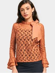 see thru blouse pics bowknot see thru lace blouse with tank top light brown two