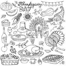 thanksgiving day icons doodle seamless pattern autumn harvest