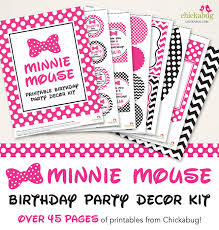 minnie mouse party printables 45 decor kits pink red