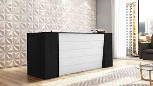 Front Reception Desk Clinton Reception Desk In Black Oak With White Acrylic Front