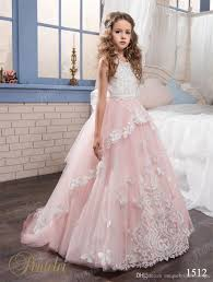 2017 blush flower girls dresses pentelei with jewel neck and