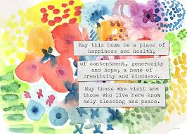 blessing for the home home blessing floral watercolor painting by woods