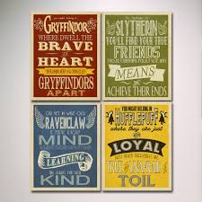 hogwarts houses prints art set of 4 prints harry potter