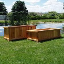 wood country rectangle cedar wood boise patio planter box