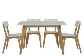 chaise blanc et bois table ronde 4 chaises smogue bois blanc style scandinave mykaz