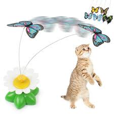 cat toys electric rotating colorful butterfly bird pet seat