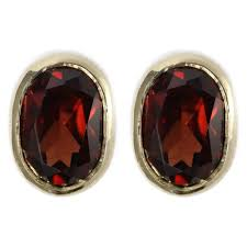 garnet stud earrings 9ct yellow gold 8x6mm oval garnet stud earrings gemstone