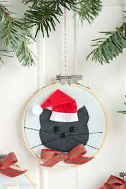Christmas Decorations To Make At Home by Cat Embroidery Hoop Christmas Ornaments The Polka Dot Chair