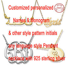gold monogram initial necklace aliexpress buy customized cursive name necklace personalized