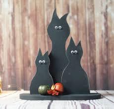 primitive black cat set halloween decor rustic fall decor