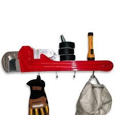 pipe wrench resin tool coat rack wall shelf 3d garage decor