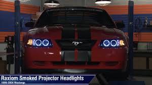 2002 ford mustang headlights mustang raxiom smoked projector headlights dual ccfl halo 99 04