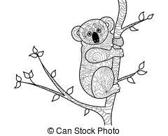 koala bear on a branch coloring book vector for adults eps