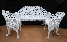 Antique Outdoor Benches For Sale by Cast Iron Lily Of The Valley Set For Sale Antiques Com Classifieds
