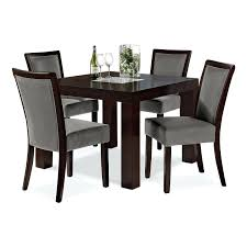 high back chairs for dining room small solid wood dining room table and four grey upholstered high