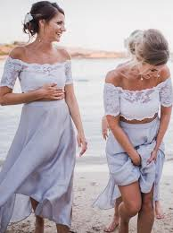 light bridesmaid dresses buy two the shoulder light grey bridesmaid dress with