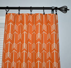 Orange White Curtains Orange Arrow Curtains Pair Of Rod Pocket Panels Apache