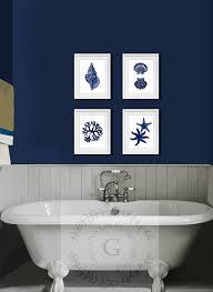 bathroom art ideas for walls amazon com navy blue beach wall art decor set of 4 unframed