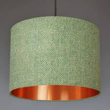 green harris tweed lampshade choice of metallic lining by quirk