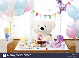 teddy in a balloon gift teddy with gift and balloon stock photo 39880258 alamy