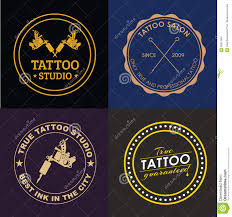 set tattoo logos of different styles stock vector image 65811855