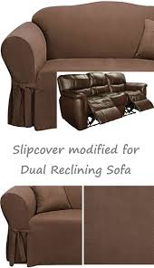 Sure Fit Dual Reclining Sofa Slipcover Dual Reclining Sofa Slipcover Suede Chocolate Brown For 3 Seater