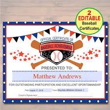 50 baseball award certificate templates put a smile on a player u0027s