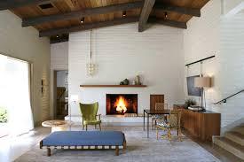 mid century fireplace mantel modern renovation tv stand
