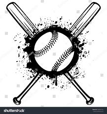 vector illustration crossed baseball bats ball stock vector