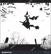 halloween witch on broomstick flying silhouette stock vector