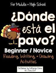 thanksgiving donde está el pavo read and draw beginner