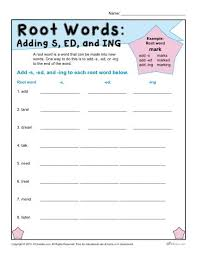 root words worksheets adding s ed and ing