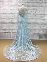 all over lace and less beading sweep train blue wedding dress