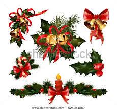 decorations fir tree golden jingle stock vector
