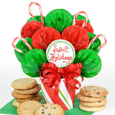 Christmas Cookie Gift Basket Sweet Candy Cane Rose Bouquet Buttercream Cookie Gift Baskets Candy