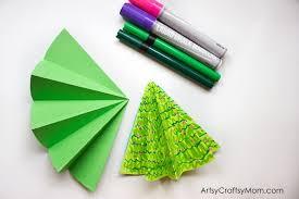 easy 3d christmas tree pop up card artsy craftsy mom