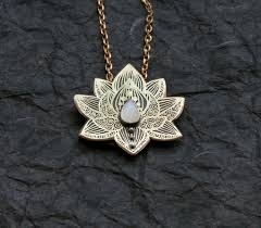 flower necklace etsy images Lotus pendant water lily necklace silver flower necklace jpg