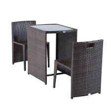 Wicker Table And Chairs Outdoor Outsunny 3 Piece Chair And Table Rattan Wicker Patio Nesting