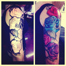 rose half sleeve tattoo leafs black and white decorating the