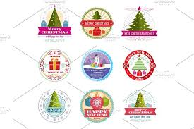 merry christmas vector labels winter holiday retro emblems and